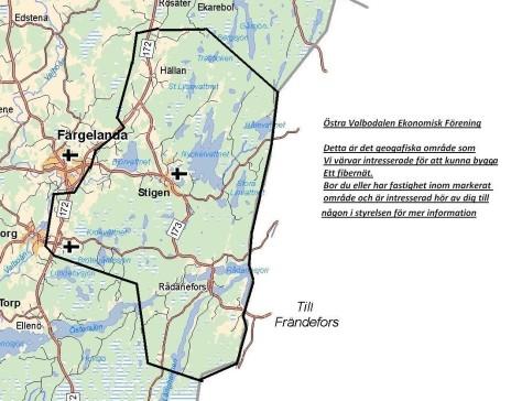 """Här är kartan över det tänkta området""""Östra Valbodalen"""":"""